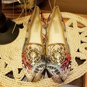 NINE WEST BUTTERFLY SLIP ONS WITH JEWELS